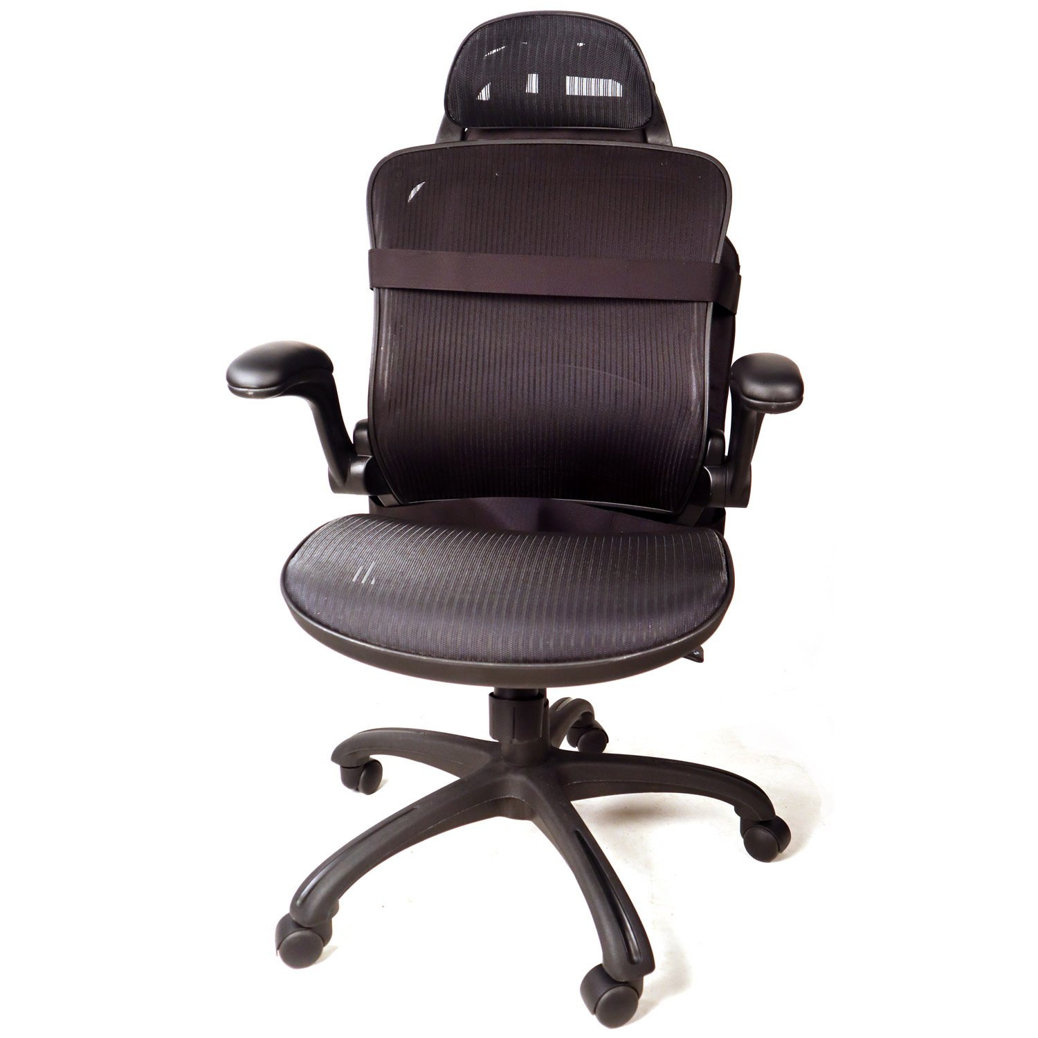 Front view of a Protecto Panel attached to the back of an office chair