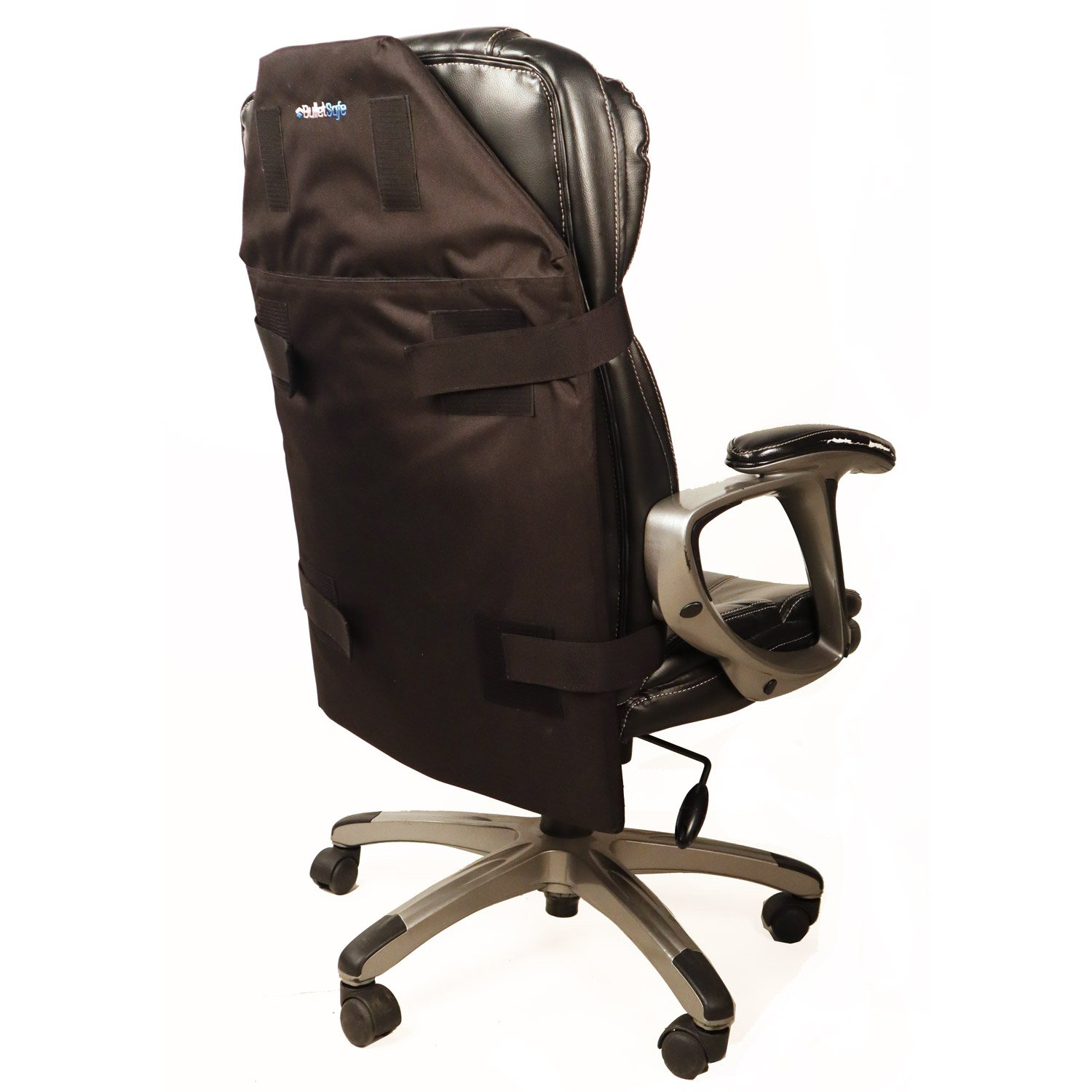 Protecto Panel attached to the back of an office chair