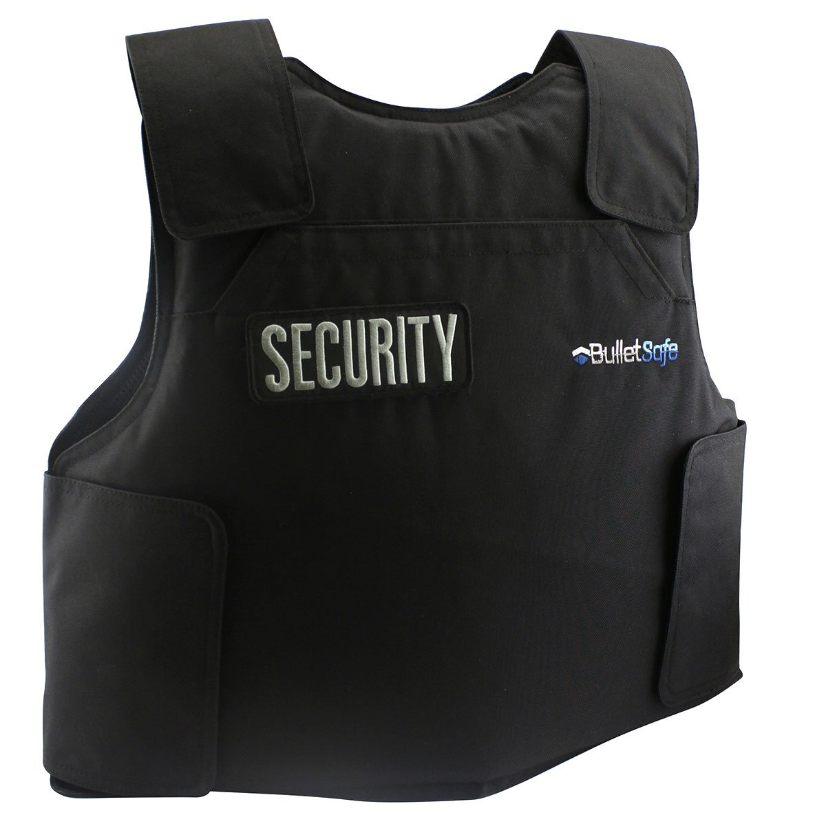 BulletSafe bulletproof vest with security patch attached.