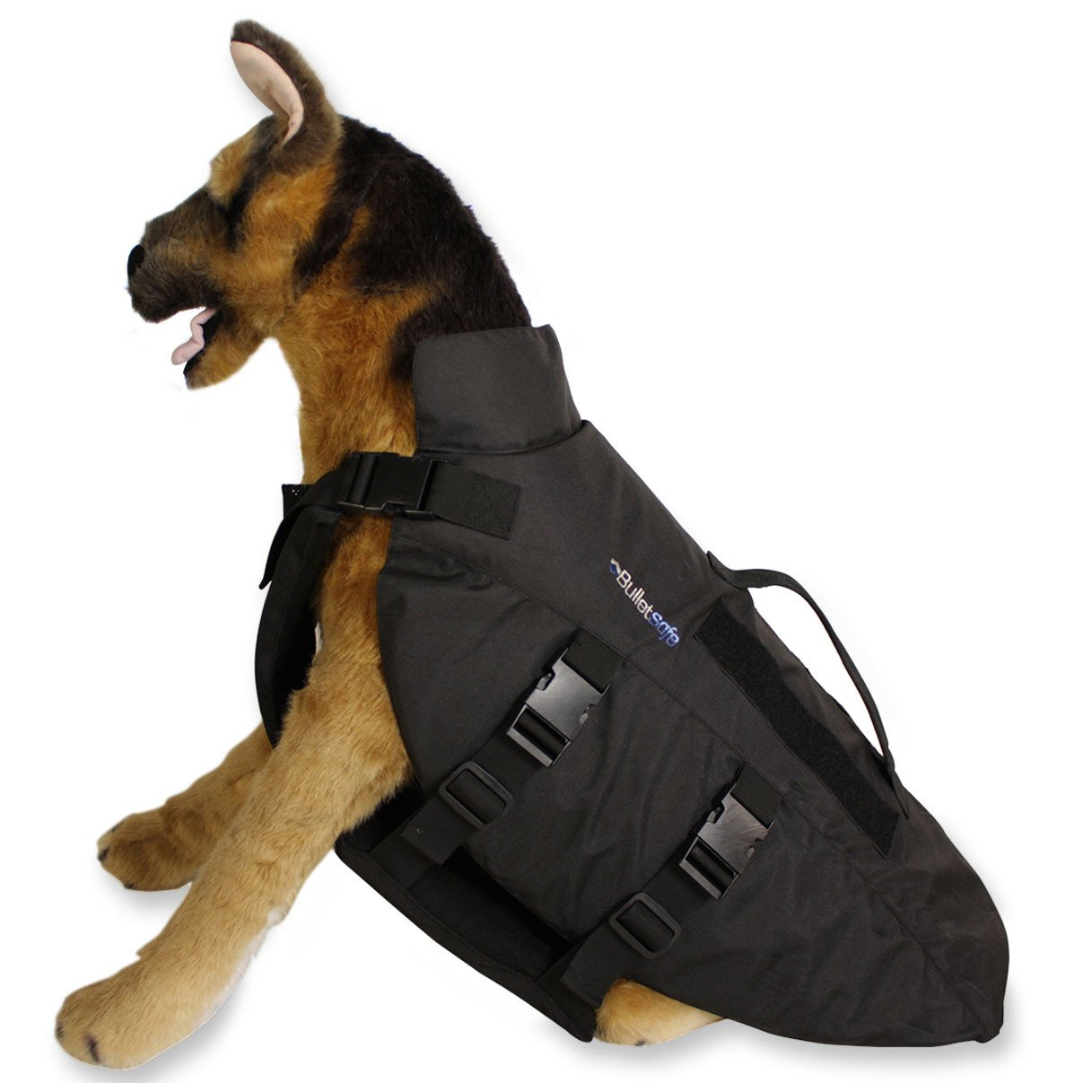 A dog figure wearing a bulletproof vest